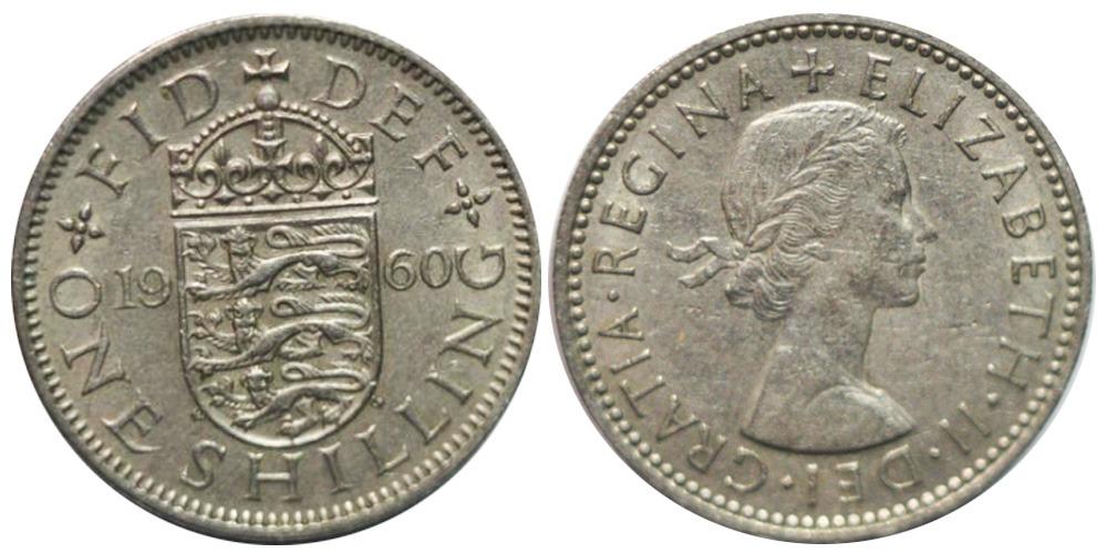1 шиллинг 1960 Великобритания — Английский герб — 3 льва внутри коронованного щита