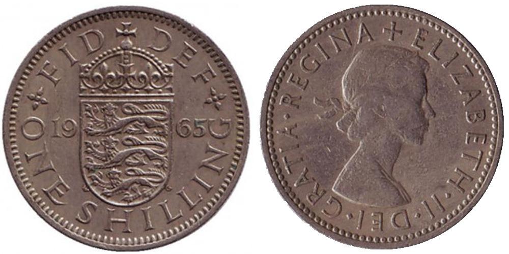 1 шиллинг 1965 Великобритания — Английский герб — 3 льва внутри коронованного щита