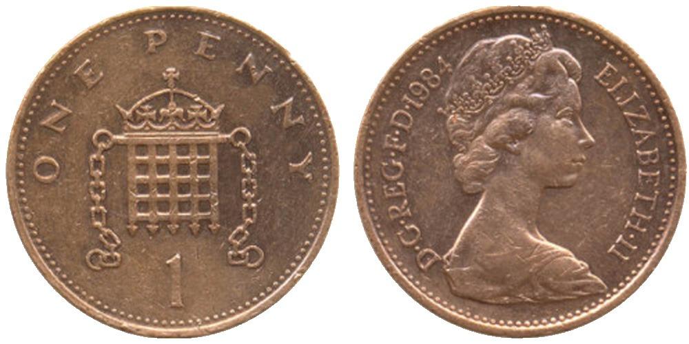 1 новый пенни 1984 Великобритания