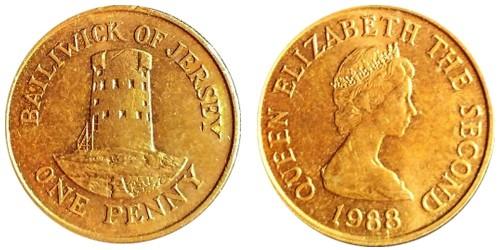 1 пенни 1988 остров Джерси