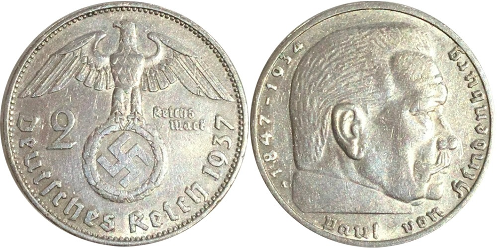 2 рейхсмарки 1937 «А» Германия — серебро №4