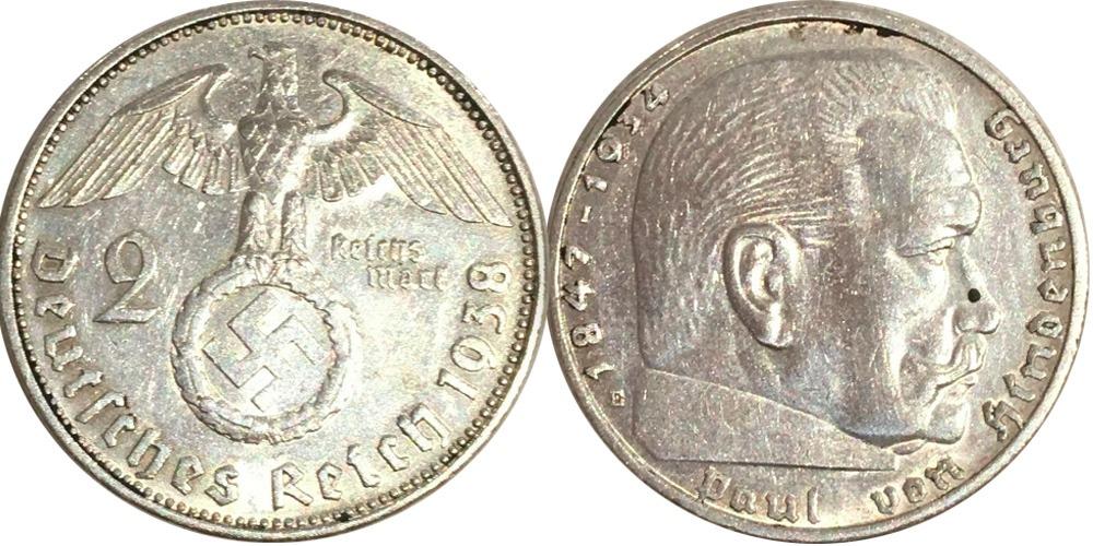 2 рейхсмарки 1938 «E» Германия — серебро №2