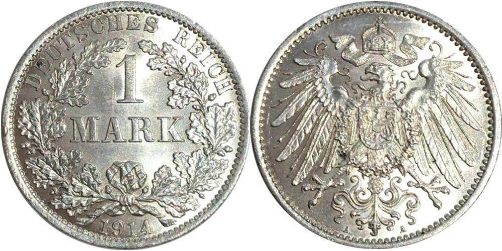 1 марка 1914 «A» Германия — серебро