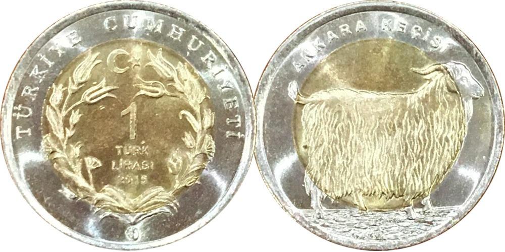 1 лира 2015 Турция — Ankara keçisi — Ангорская коза