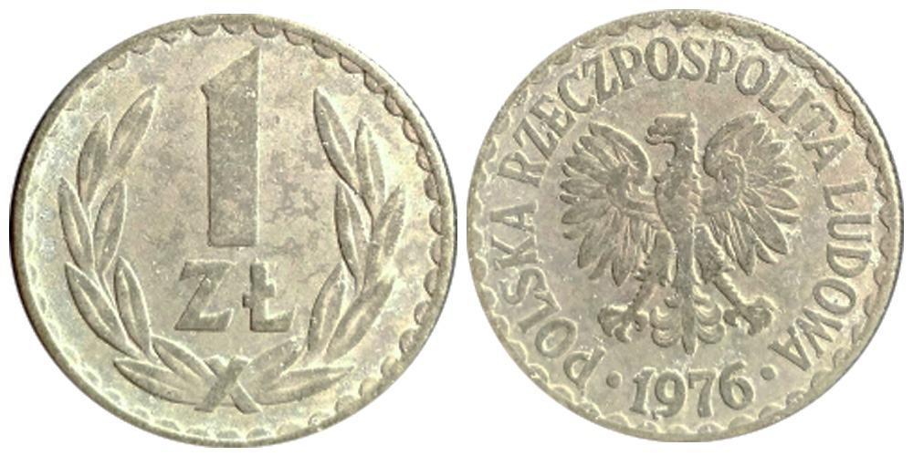 1 злотый 1976 Польша — без знака монетного двора