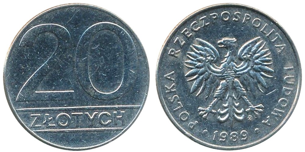 20 злотых 1989 Польша