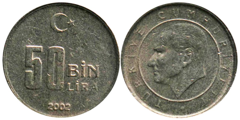 50000 лир 2002 Турция