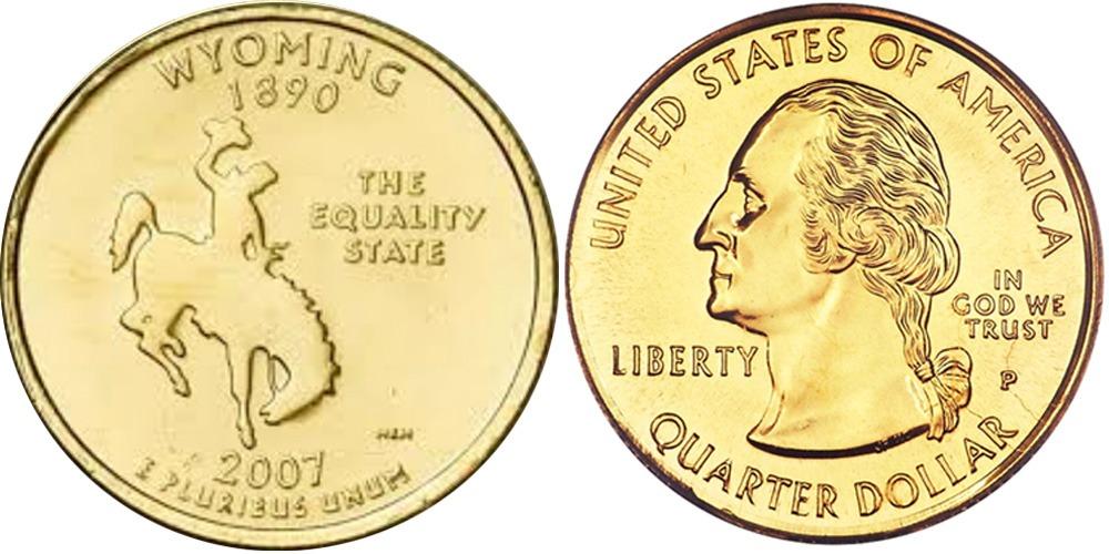 25 центов 2007 P США — Вайоминг UNC — позолота
