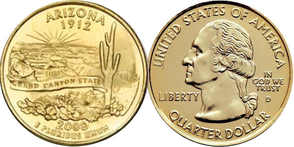 25 центов 2008 D США — Аризона UNC — позолота