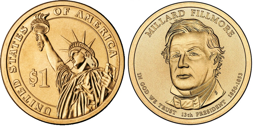1 доллар 2010 D США UNC — Президент США — Миллард Филлмор (1850-1853) №13