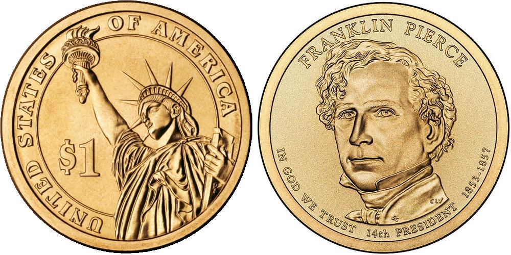 1 доллар 2010 D США UNC — Президент США — Франклин Пирс (1853-1857) №14