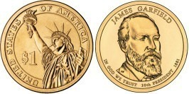 1 доллар 2011 D США UNC — Президент США — Джеймс Гарфилд (1881) №20