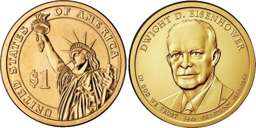 1 доллар 2015 P США UNC — Президент США — Дуайт Эйзенхауэр (1953–1961) №34