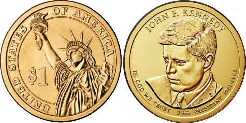 1 доллар 2015 D США UNC — Президент США — Джон Кеннеди (1961–1963) №35
