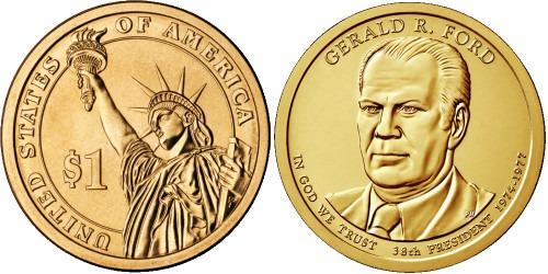 1 доллар 2016 D США UNC — Президент США — Джеральд Форд (1974–1977) №38