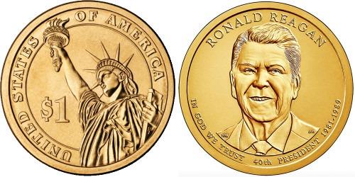 1 доллар 2016 D США UNC — Президент США — Рональд Рейган (1981–1989) №40