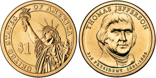 1 доллар 2007 D США UNC — Президент США — Томас Джеферсон (1801-1809) №3