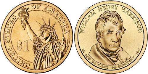 1 доллар 2009 D США UNC — Президент США — Уильям Генри Гаррисон (1841) №9