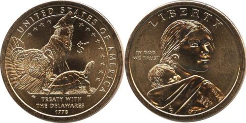 1 доллар 2013 D США aUNC — Коренные Американцы — Делаверский договор 1778 года