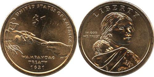 1 доллар 2011 P США UNC — Коренные Американцы — Договор с Вампаноагами