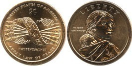 1 доллар 2010 D США UNC — Коренные Американцы — Пояс Гайавата