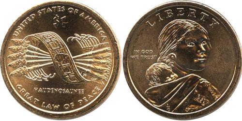 1 доллар 2010 D США aUNC — Коренные Американцы — Пояс Гайавата