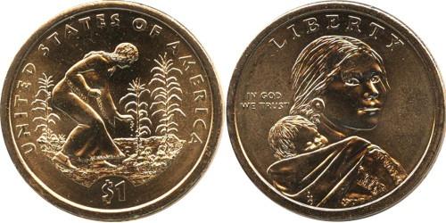 1 доллар 2009 P США UNC — Коренные Американцы — Посадка культур