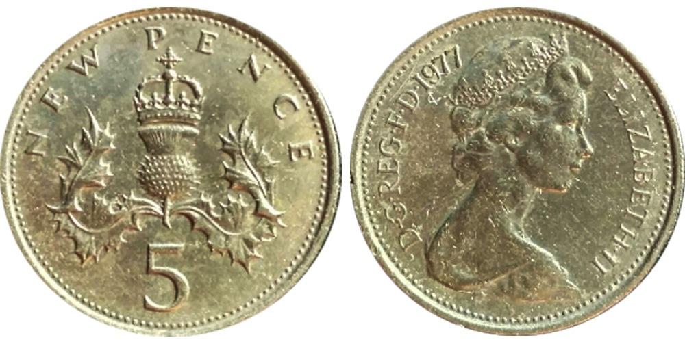 5 новых пенсов 1977 Великобритания