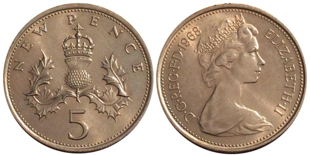 5 новых пенсов 1968 Великобритания