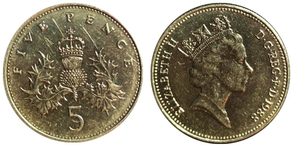 5 новых пенсов 1988 Великобритания