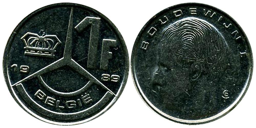 1 франк 1989 Бельгия (VL)