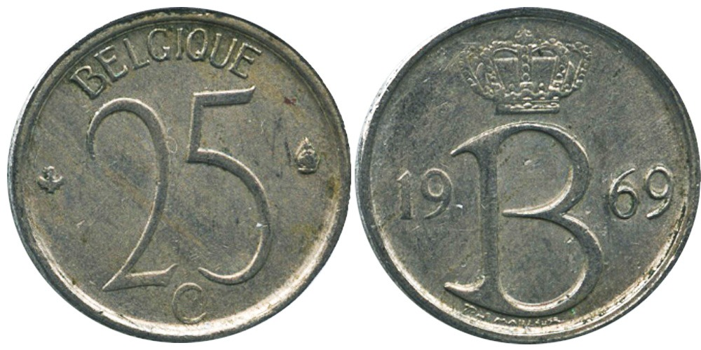 25 сантимов 1969 Бельгия (FR)