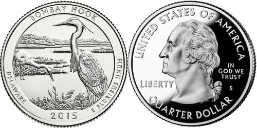 25 центов 2015 S США — Национальное убежище дикой природы Бомбай-Хук Делавэр — Bombay Hook UNC
