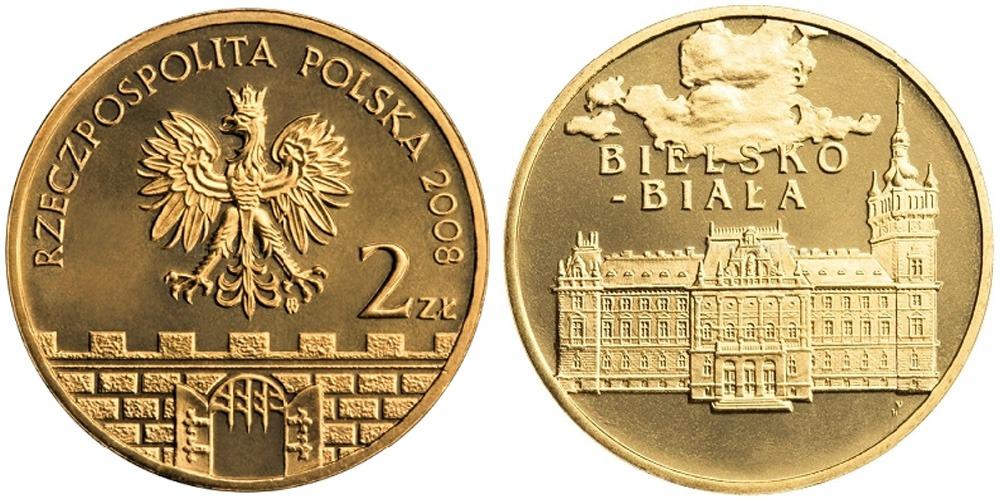 2 злотых 2008 Польша — Древние города Польши — Бельско-Бяла