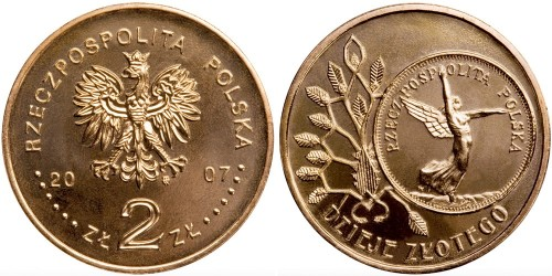 2 злотых 2007 Польша — История польского злотого — Ника на 5 злотых 1928 года