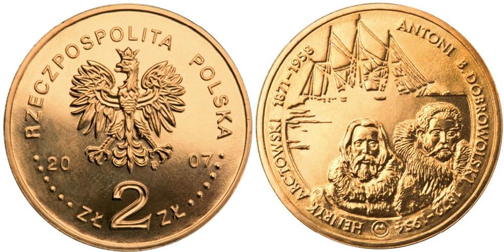 2 злотых 2007 Польша — Польские путешественники — Генрик Арцтовский и Антони Болеслав Добровольский