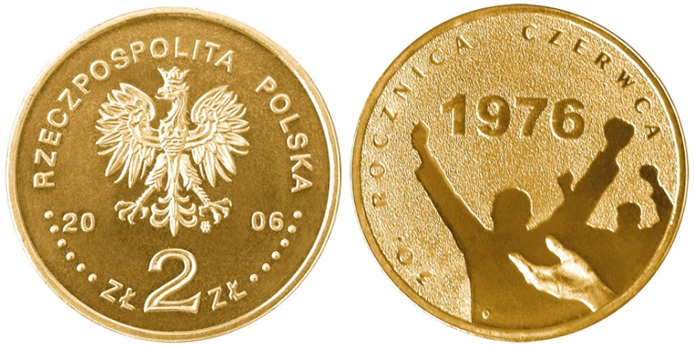 2 злотых 2006 Польша — 30 лет акциям протеста Июня 1976 года