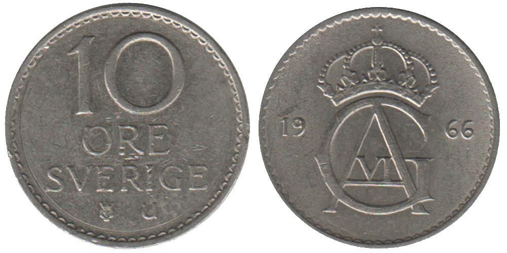 10 эре 1966 Швеция