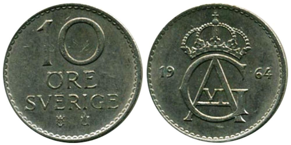 10 эре 1964 Швеция