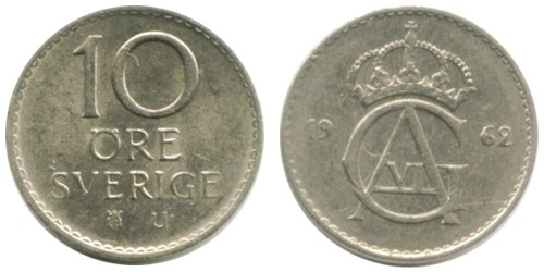 10 эре 1962 Швеция