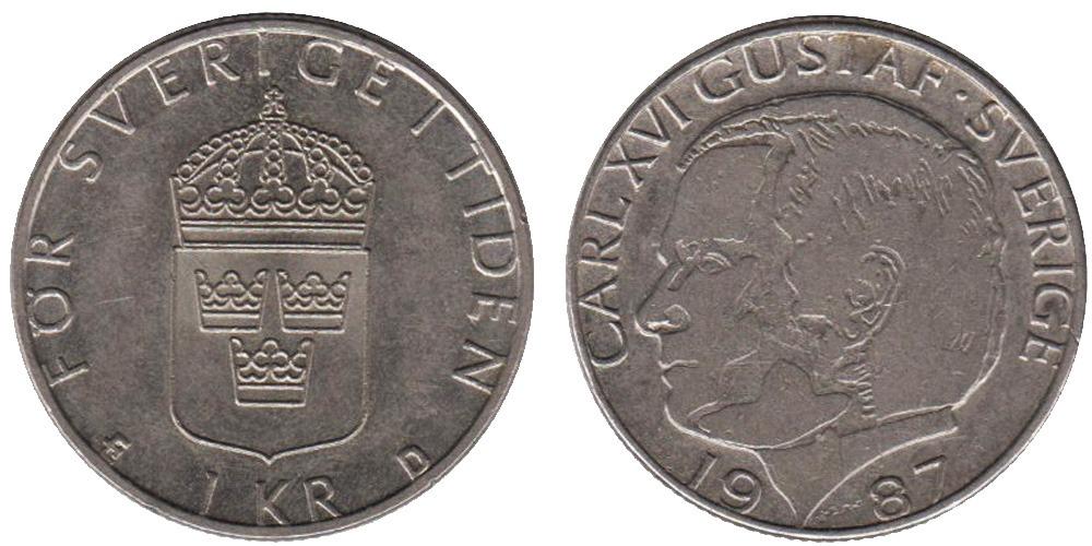 1 крона 1987 Швеция