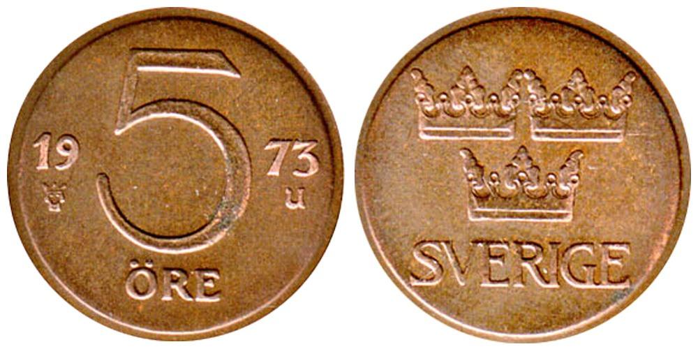 5 эре 1973 Швеция