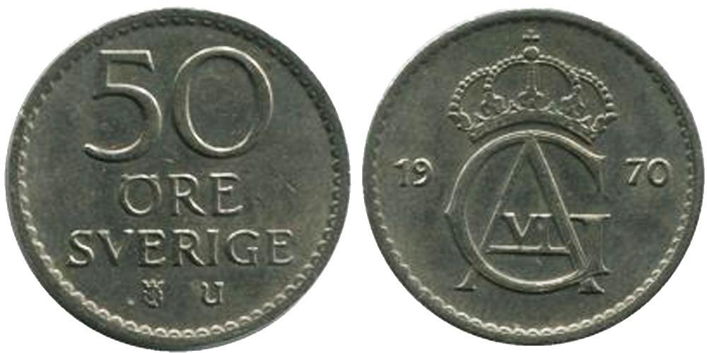 50 эре 1970 Швеция