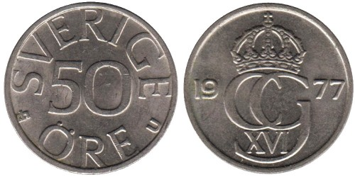 50 эре 1977 Швеция