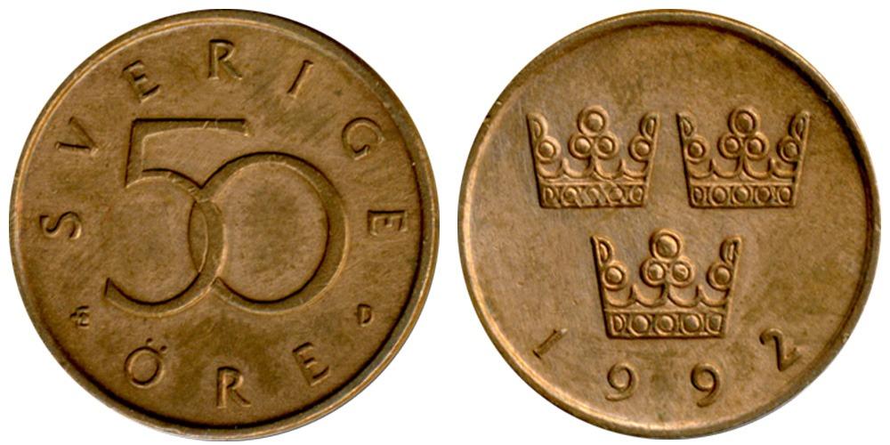 50 эре 1992 Швеция