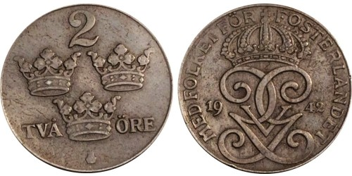 2 эре 1942 Швеция