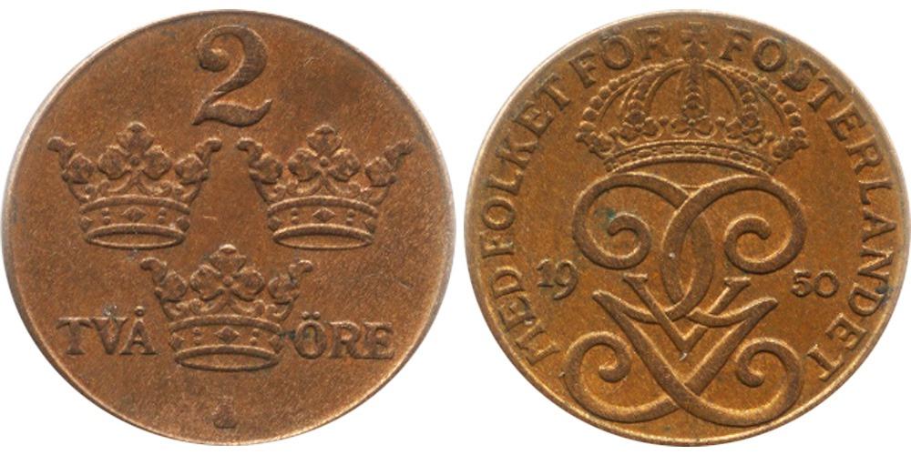 2 эре 1950 Швеция — бронза