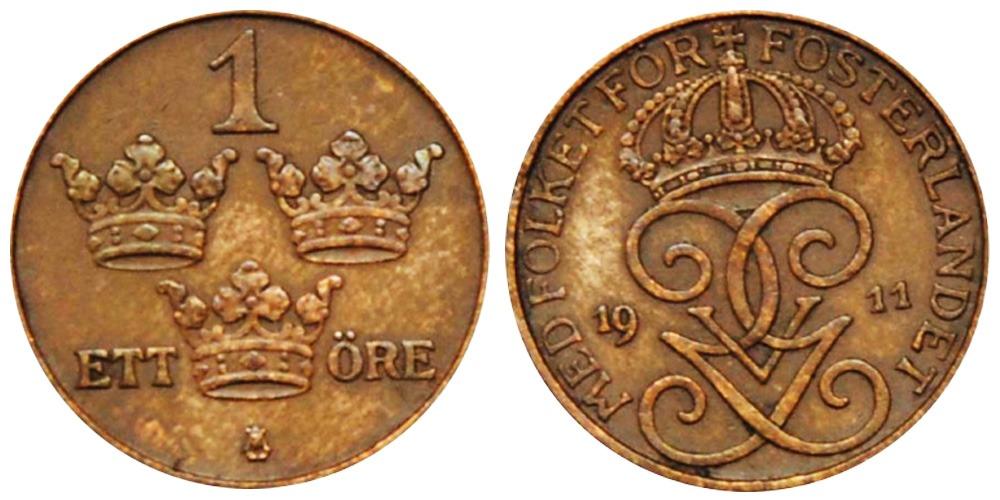 1 эре 1911 Швеция
