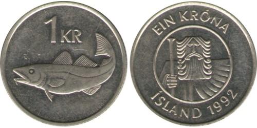 1 крона 1992 Исландия