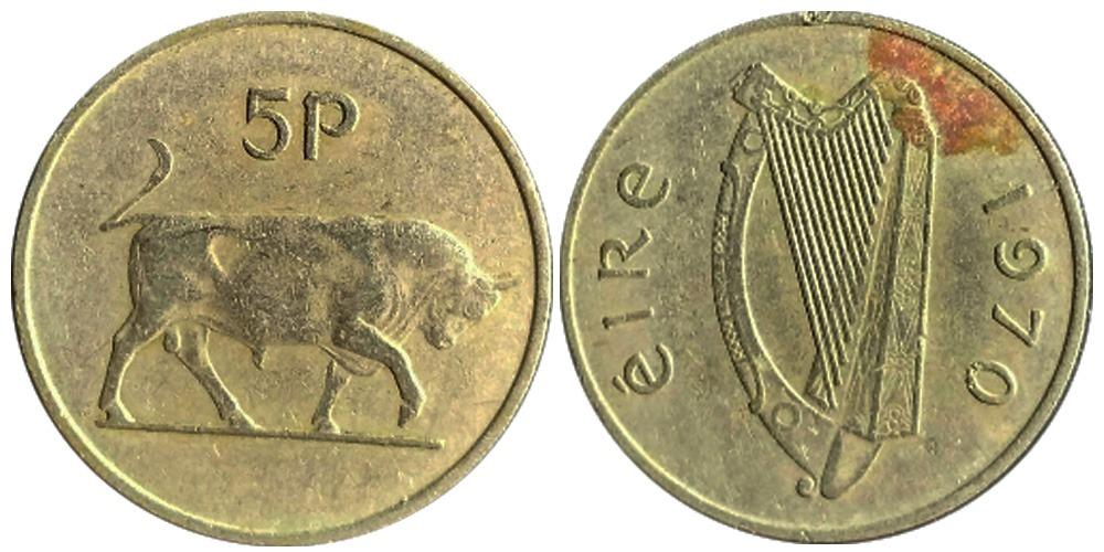 5 пенсов 1970 Ирландия — Бык